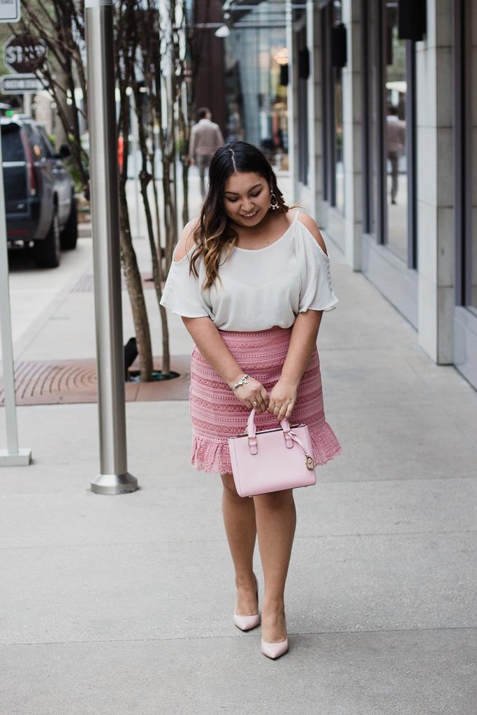 pink skirt, cold shoulder top, white blouse, pink purse, pink heels, valentine's day outfit, valentine's day look, cute outfit for valentine's day, asos skirt, agaci top, henri bendel purse, bcbg shoes, valentine's look, valentine's outfit, outfit for valentine's day, spring outfit, easter outfit, baby shower outfit, it's a girl outfit, cute pink outfit, easter dress, easter look