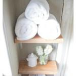 DIY spa inspired bathroom shelving {www.lovelyweeds.com}