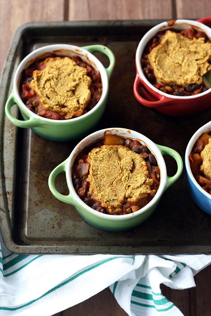 Lentil Chili Pot Pies - vegan and comforting!
