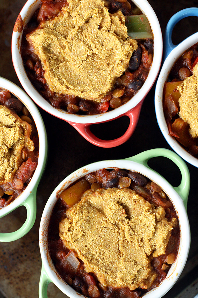 Lentil Chili Pot Pies - vegan, comforting, and delicious