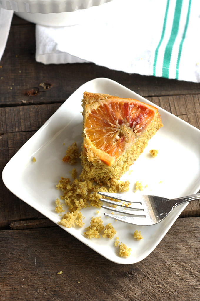 Vegan Blood Orange Polenta Cake - Crumbly, moist, and full of citrus flavour. A great way to brighten up the day. | love me, feed me