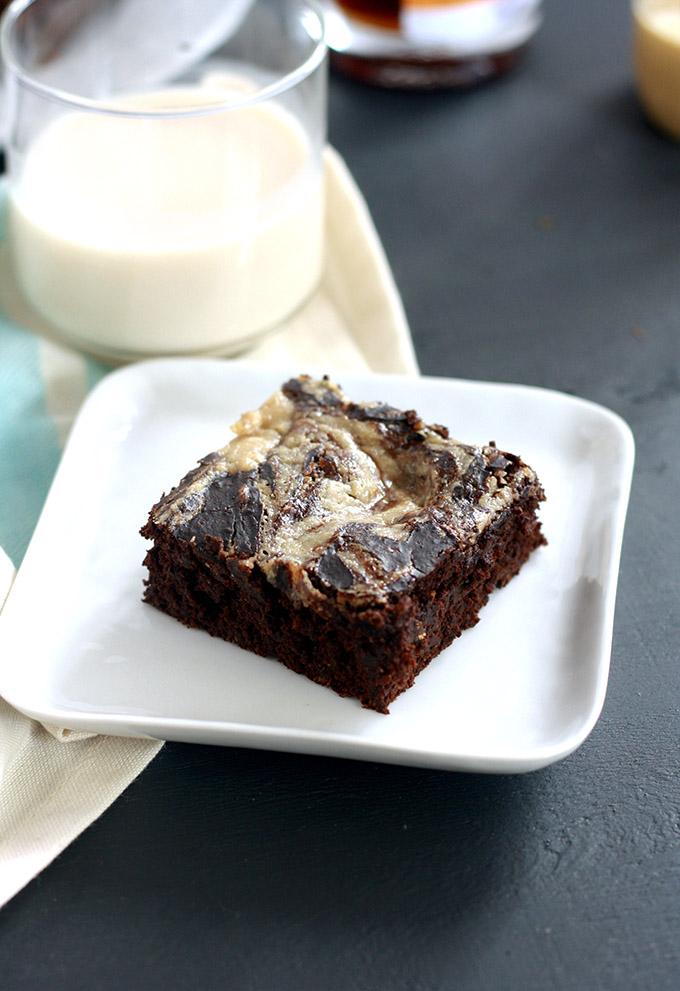 Vegan Lavender Chai Maple Tahini Swirl Brownies | love me, feed me