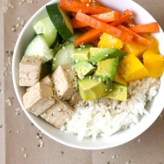 maple soy tofu sushi bowl
