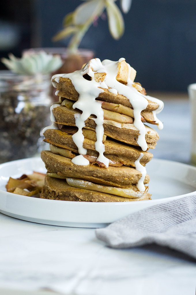 vegan sweet potato pancakes with maple cream cheese icing (gluten free) | love me, feed me