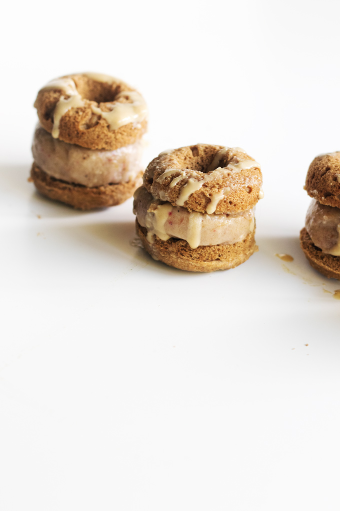 vegan ginger rhubarb mini donut ice cream sandwiches | love me, feed me