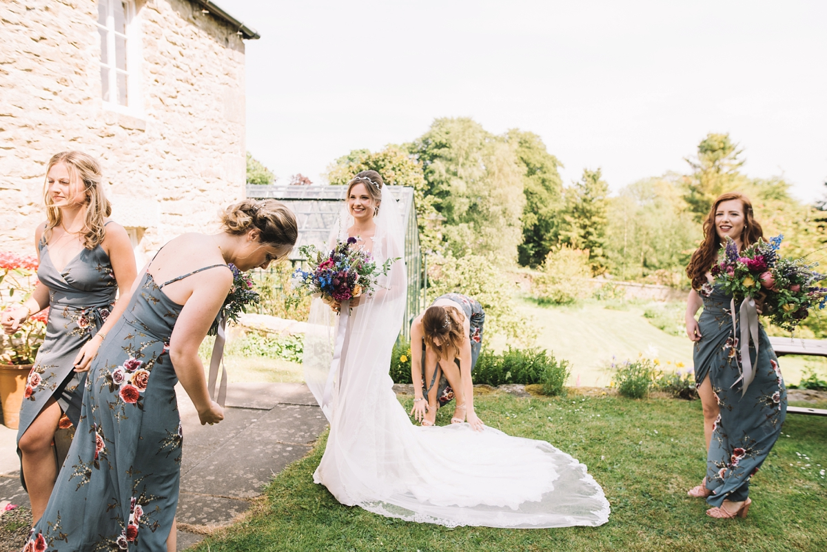 A fitted lace Pronovias dress for a colourful walled garden wedding in Northumberland - Elegant Pronovias Lace for a Flower Filled Wedding in a Northumbrian Walled Garden