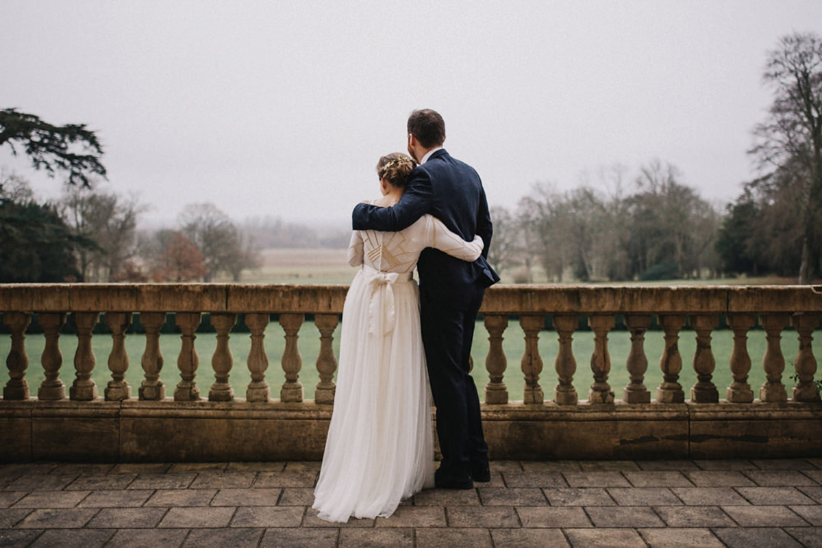 Art Deco inspired sustainable ethical wedding knitted silk wedding dress  - An Art Deco-Inspired, Knitted Silk Gown For A Festive + Sustainable Country House Wedding