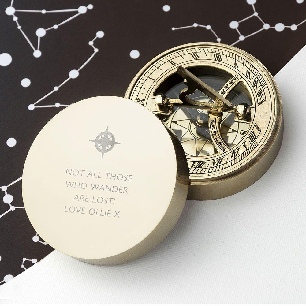 Personalised Iconic Adventurers Sundial Compass Love My