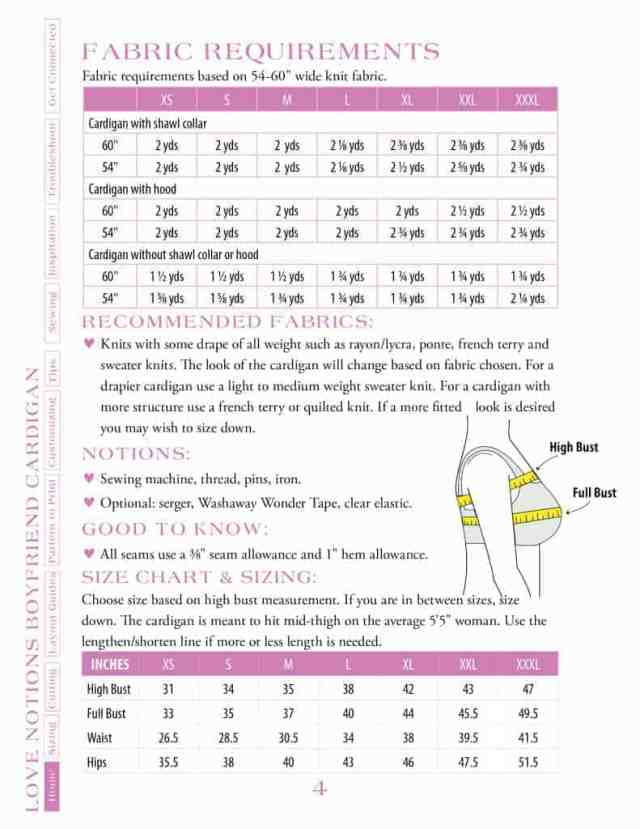 Ladies fabric requirements & size chart