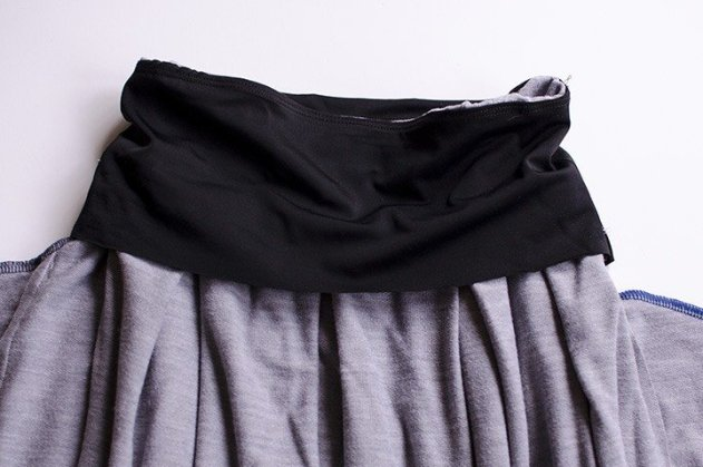 The inside of a pleated skirt with the hidden control top.