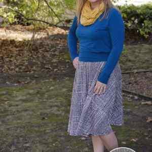 Swing skirt in En Route Knit in Gravel by Frances Newcombe