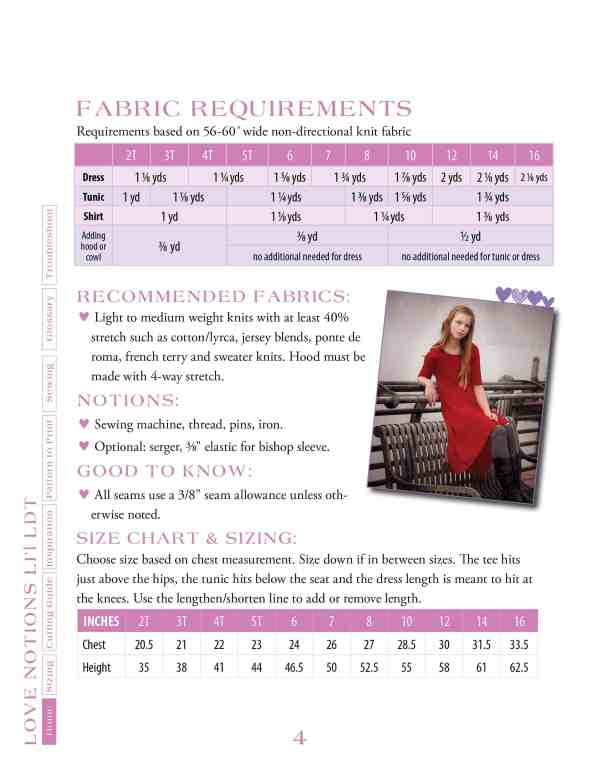 Fabric requirements and size chart