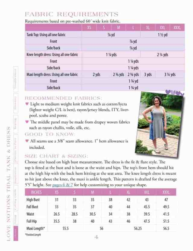Ladies Tidal fabric requirements and size chart