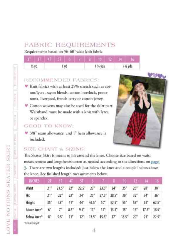Skater Skirt size chart and fabric requirements