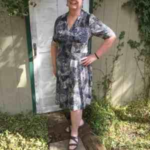 Elbow sleeveless, knee length Olympia Dress