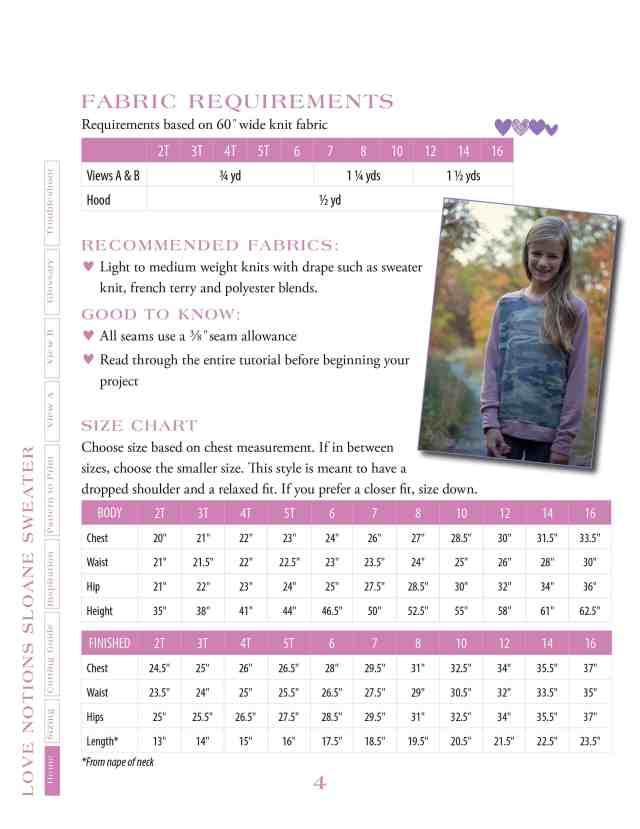 Girls Sloane size chart