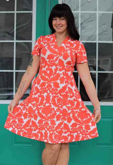 Short sleeve knee length Olympia Dress