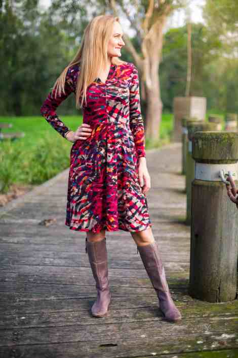 Long sleeves, knee length Olympia Dress