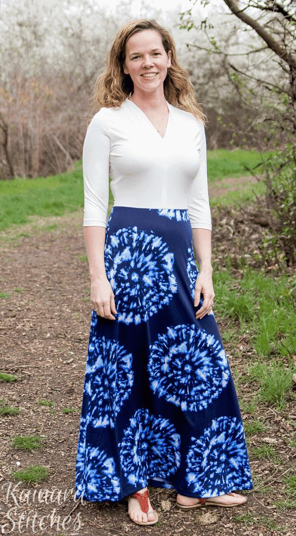 3/4 sleeves, maxi length Olympia Dress