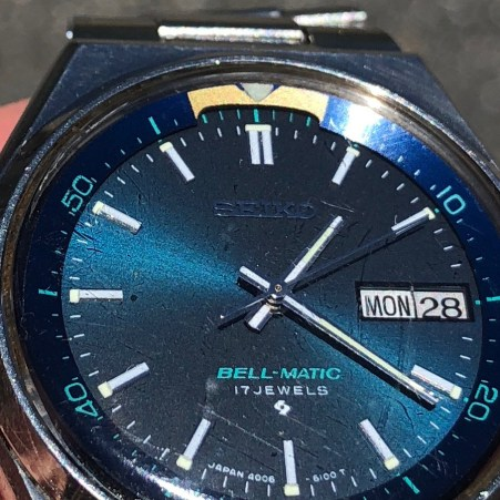 Beautiful blue dial. Crystal could use a little cleanup.