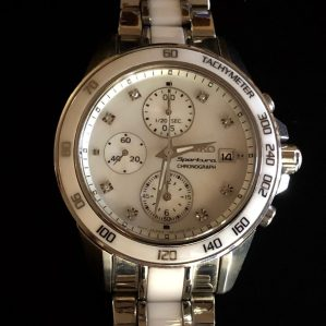 Perpetual Girl's Seiko Sportura Chronograph with white ceramic center links