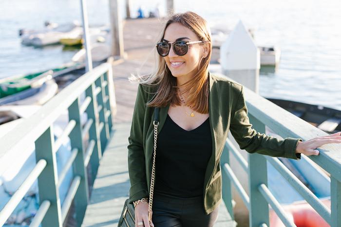 Target Olive Blazer with Black Sunglasses
