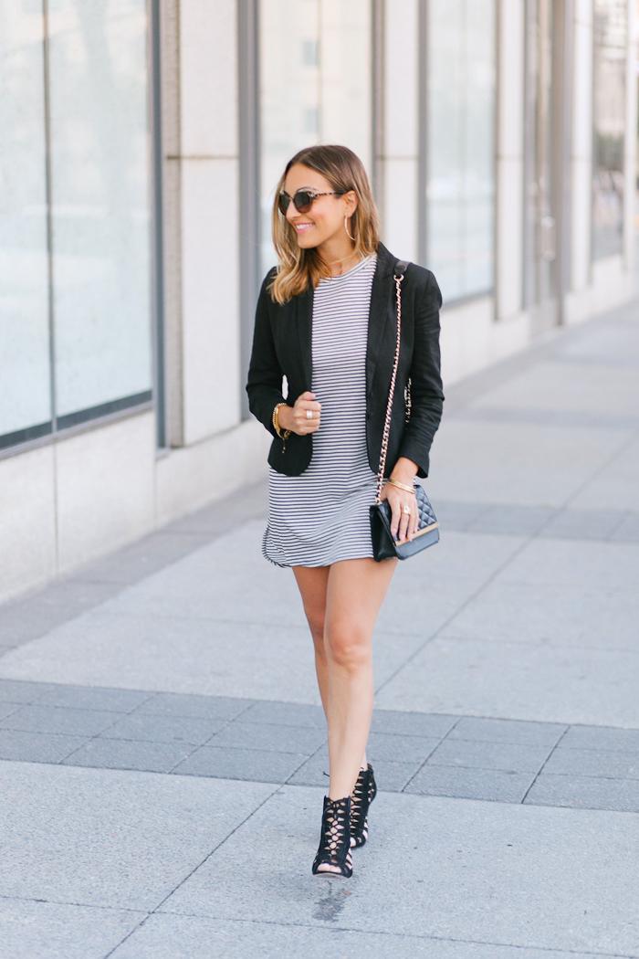 black blazer striped dress