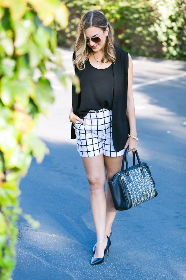 silk checkered shorts black vest