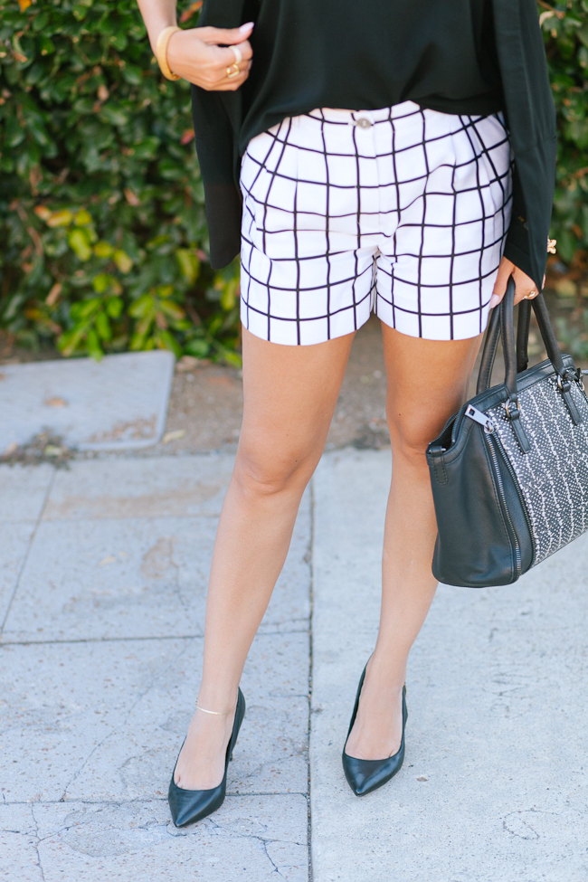 silk checkered shorts