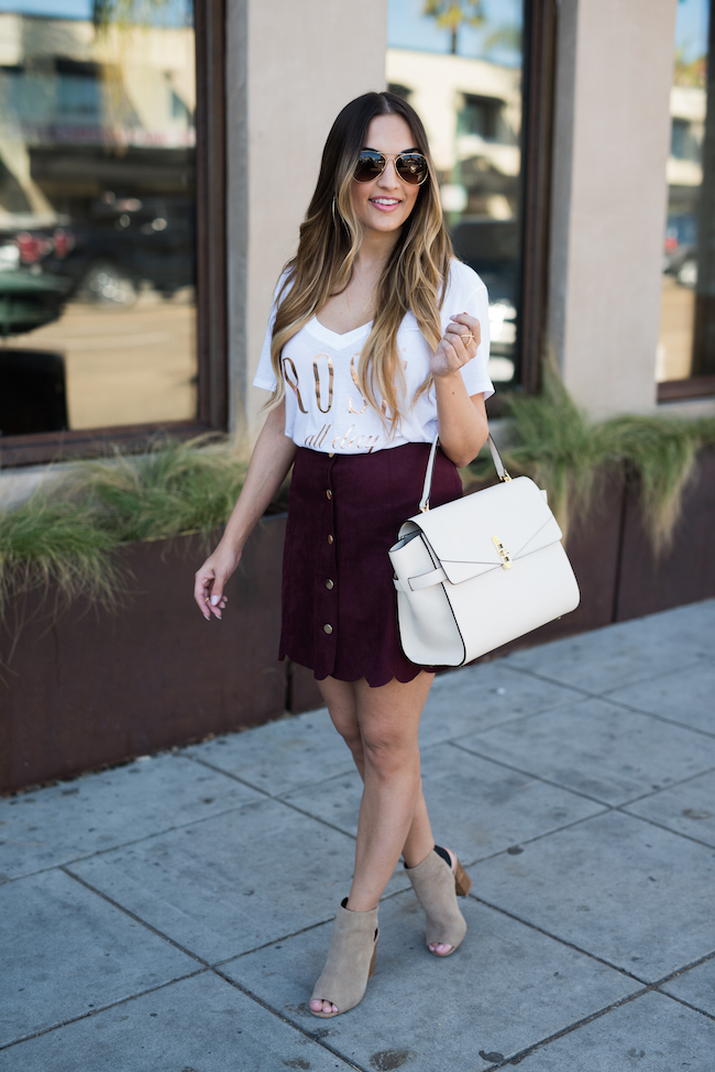 Burgundy Skirt Guess Henri Bendel Bag