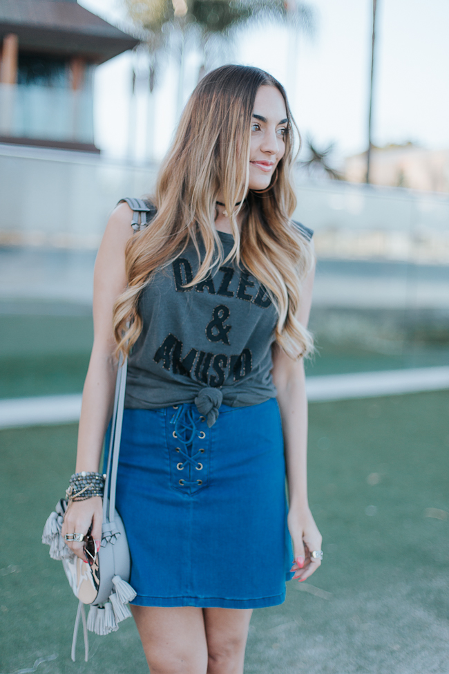 Guess Lace Up Denim Skirt-12