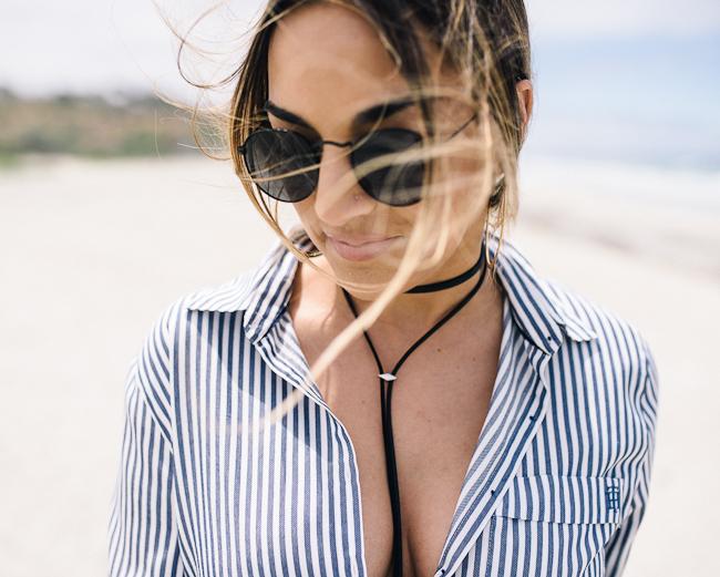 Stripe Button Down Boyfriend Blouse-12