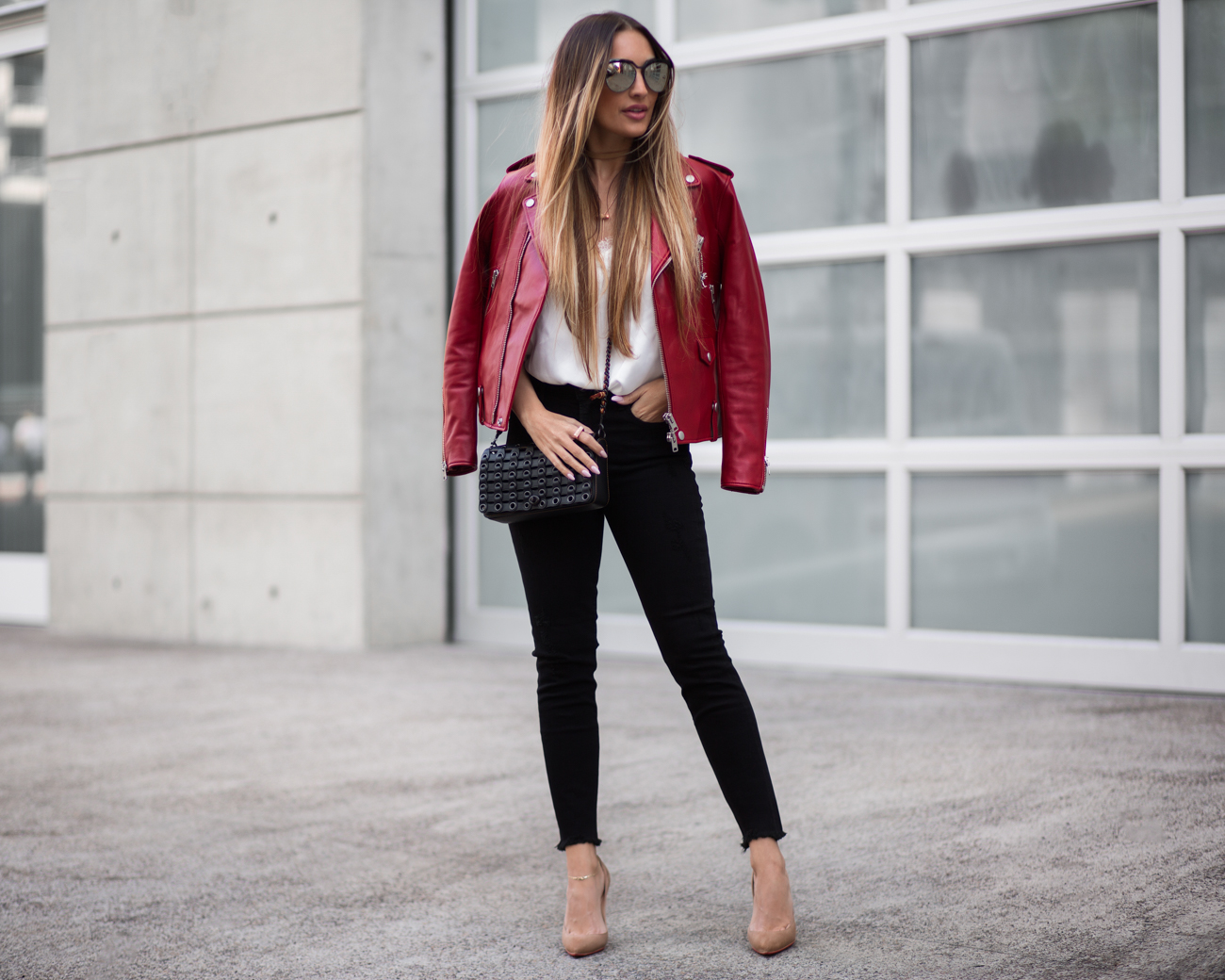 COACH red leather jacket