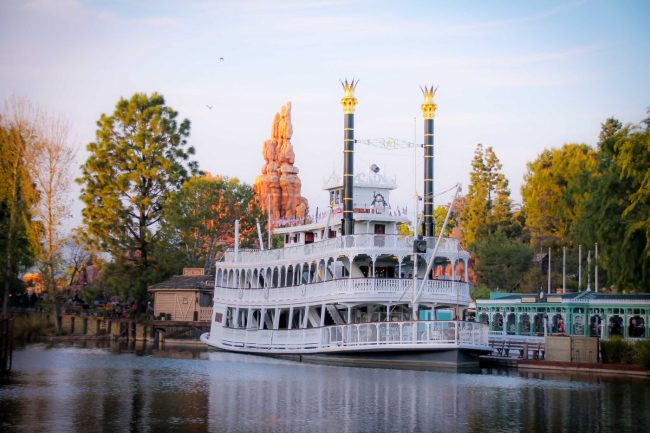 Mark Twain Riverboat and Thunder Mountain in Frontierland in Disneyland