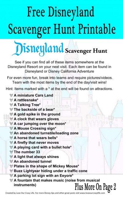 Disneyland Scavenger Hunt Free Printable