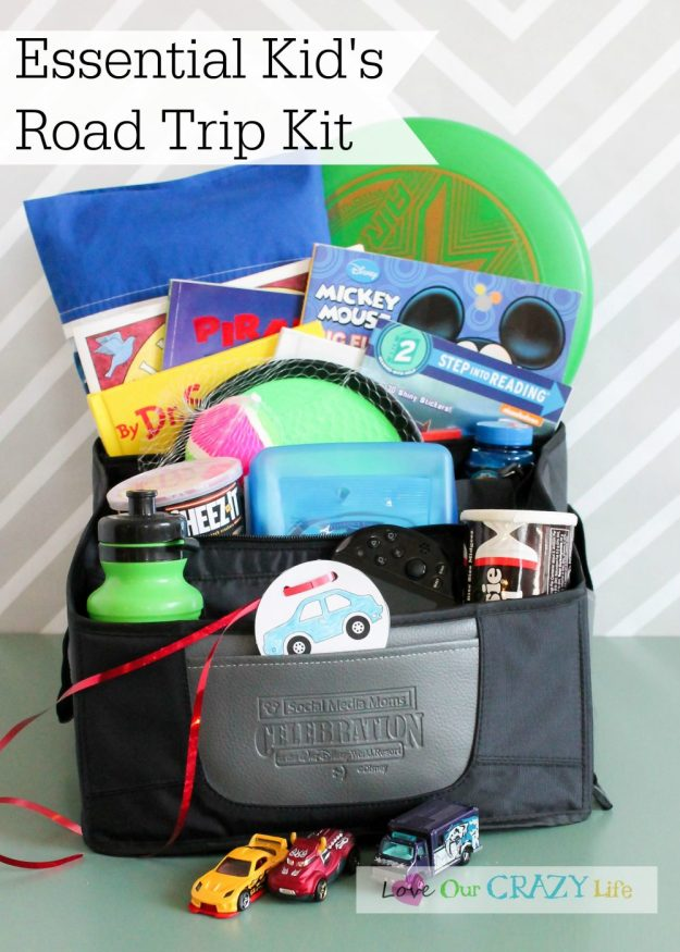 "Make the essential kid's road trip kit, plus lots of little tips for storage and stopping the ""are we there yet"" question."