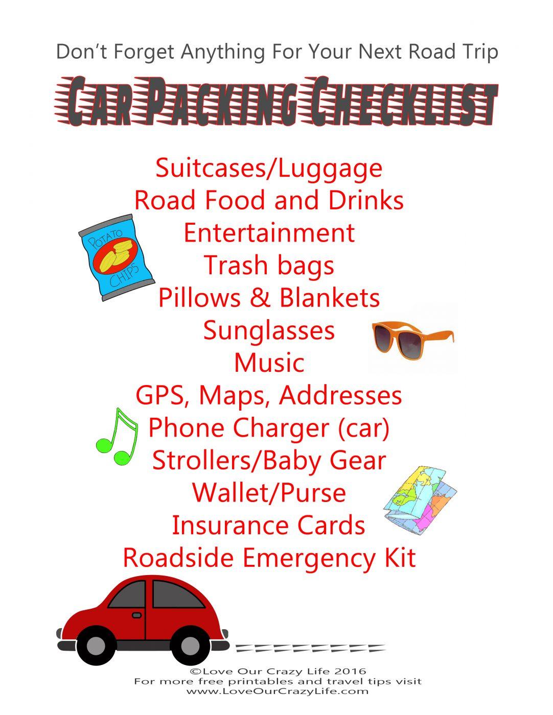 Free Road Trip Packing Checklist