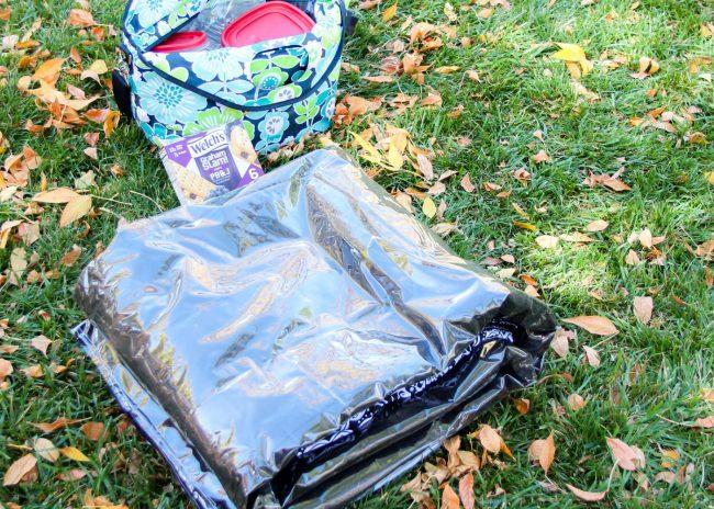 Folding your DIY picnic blanket step 4