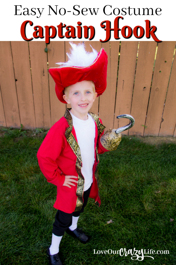 DIY Captain Hook Costume. No-Sew costume idea that is quick and easy.  Disney | Peter Pan | Costume | Halloween | Pirate | DIY
