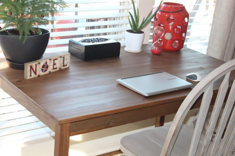 Before and after furniture makeover, IKEA table makeover, staining wood with oxidized steel wool