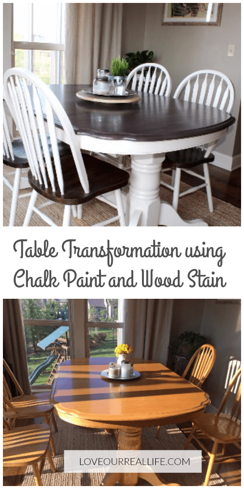 Kitchen table transformation, Chalk paint, kitchen table makeover, dining table makeover, wood stain and chalk paint