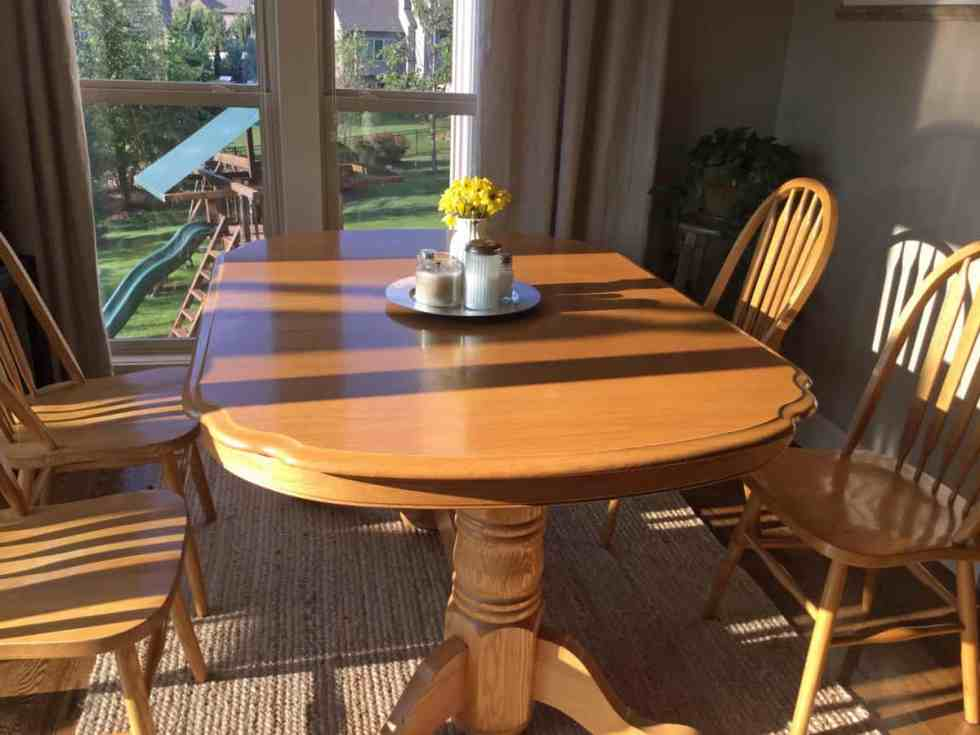 Kitchen table transformation with chalk paint and wood stain, chalk paint dining table, kitchen table makeover