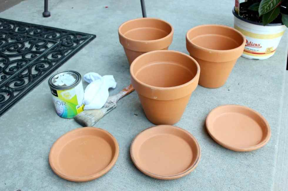 White wash terra cotta pots, Age terra cotta pots with white washing