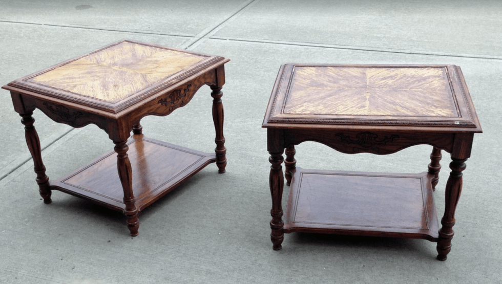 Before and after furniture makeover, end table makeover with black chalk paint