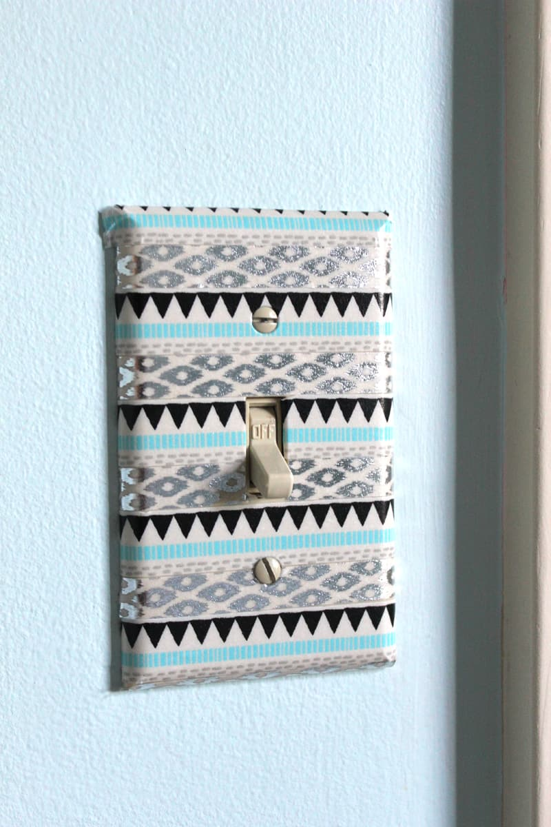 washi tape on light switch, tween room makeover, before and after tween room makeover