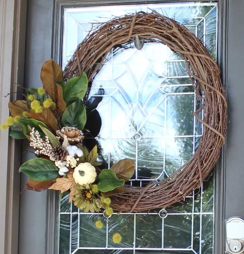 DIY wreath for front door, DIY fall front door wreath, DIY wreath with grape vine wreath