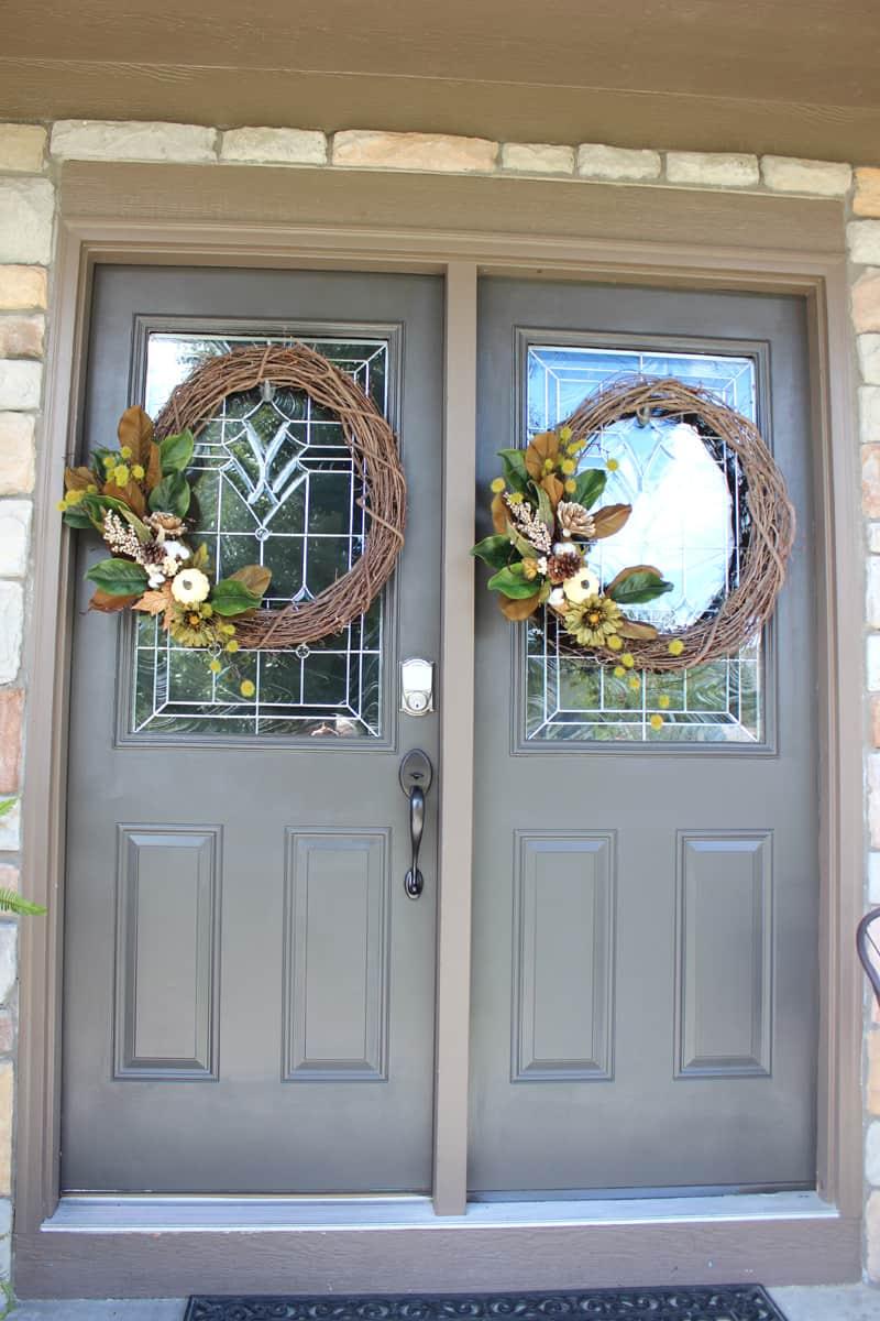 DIY front door wreath, double wreaths on front doors, double front door wreaths, neutral fall wreaths