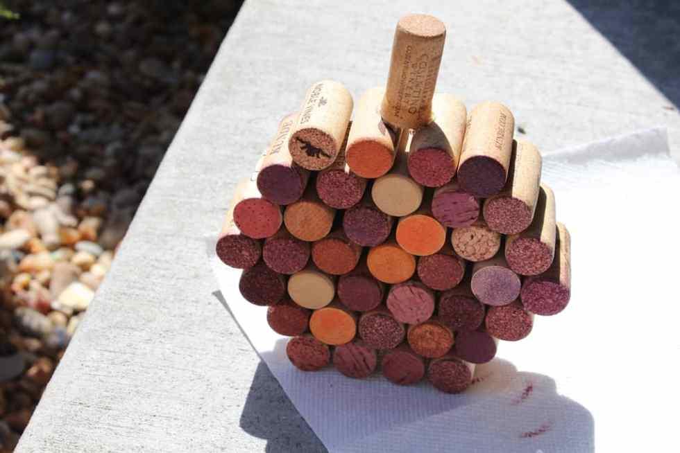 Wine cork pumpkin, fall craft, Halloween pumpkin craft with wine corks,