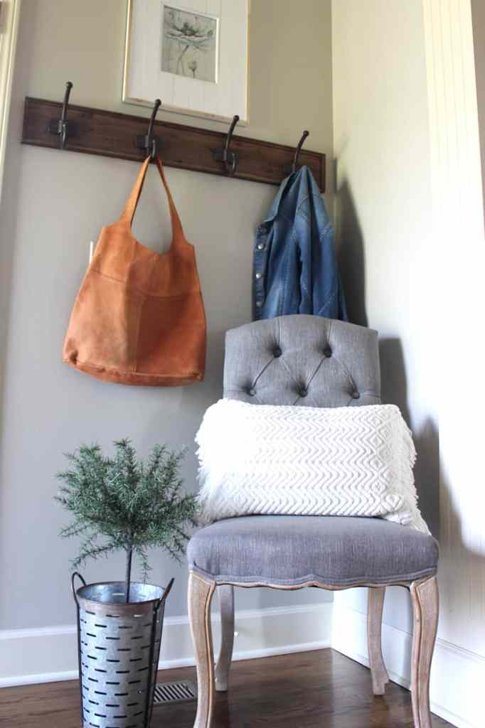 Rustic entry, farmhouse entry, Magnolia bag, entry coat rack