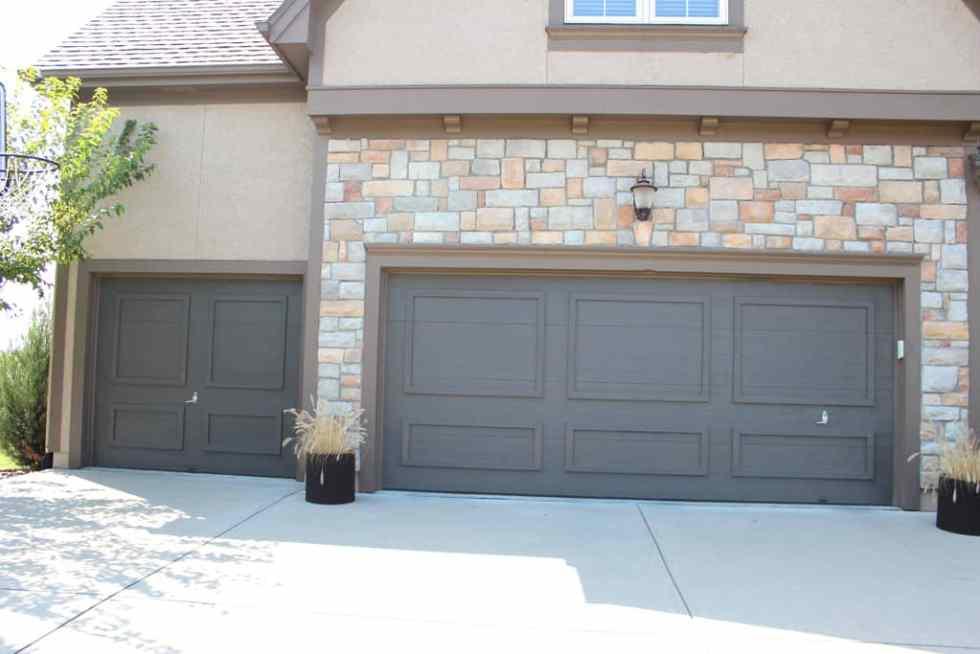Painting garage doors, Urbane Bronze garage doors, painting faded doors